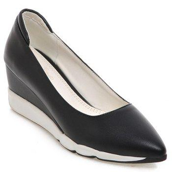 Casual PU Leather and Pointed Toe Design Women's Wedge Shoes - BLACK BLACK