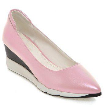 Casual PU Leather and Pointed Toe Design Women's Wedge Shoes - PINK 39