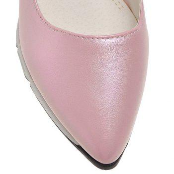 Casual PU Leather and Pointed Toe Design Women's Wedge Shoes - PINK PINK