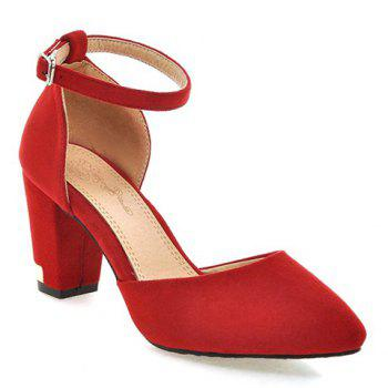 Buy Fashionable Chunky Heel Two-Piece Design Women's Pumps RED