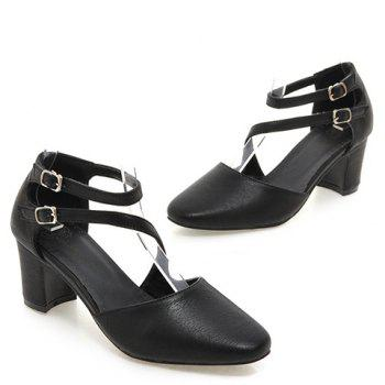 Ladylike Double Buckle and Square Toe Design Women's Pumps - BLACK 35