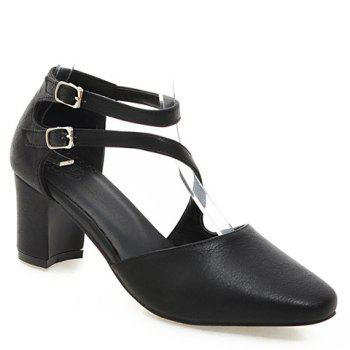 Ladylike Double Buckle and Square Toe Design Women's Pumps
