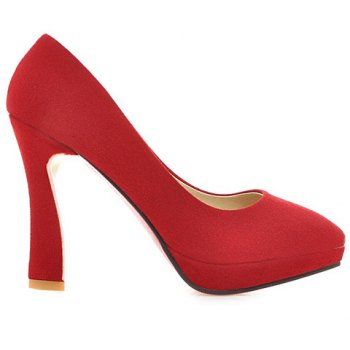 Office Style Suede and Platform Design Women's Pumps - RED 39