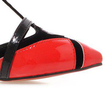 Fashionable T-Strap and Colour Block Design Women's Pumps - RED 38