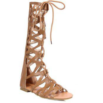 Leisure Lace-Up and Solid Colour Design Women's Sandals