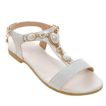 Casual Beading and T-Strap Design Women's Sandals