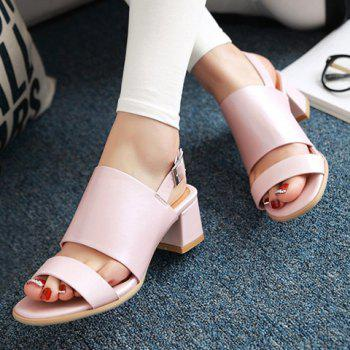 Fashionable PU Leather and Solid Colour Design Women's Sandals - PINK 39