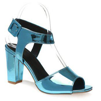 Fashionable Patent Leather and Solid Colour Design Women's Sandals