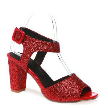 Trendy Sequined Cloth and Peep Toe Design Women's Sandals