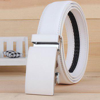 Stylish Smooth Alloy Rectangle Buckle Men's Wide Belt - WHITE WHITE
