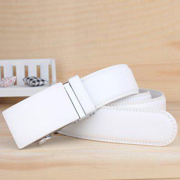 Stylish Smooth Alloy Rectangle Buckle Men's Wide Belt -  WHITE