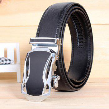 Stylish Hollow Out Car Shape Alloy Buckle Men's White Wide Belt - BLACK BLACK