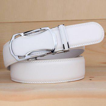 Stylish Hollow Out Car Shape Alloy Buckle Men's White Wide Belt -  WHITE