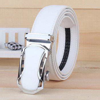 Stylish Hollow Out Car Shape Alloy Buckle Men's White Wide Belt - WHITE WHITE
