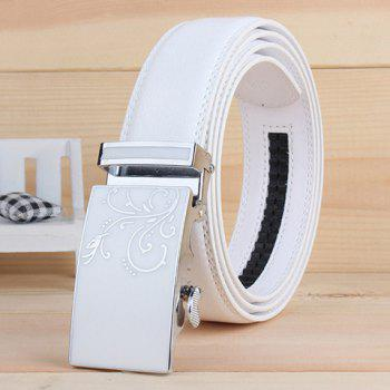 Stylish Tendrils Alloy Rectangle Buckle Men's White Wide Belt