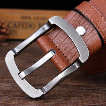 Stylish Alloy Pin Buckle Solid Color Men's Wide Belt -  LIGHT BROWN