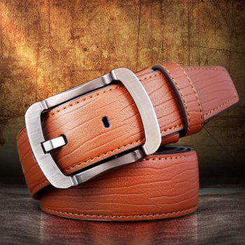 Buy Stylish Alloy Pin Buckle Solid Color Men's Wide Belt LIGHT BROWN