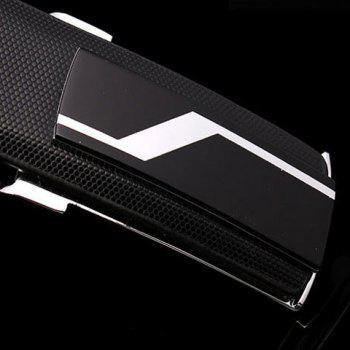 Stylish Lightning Alloy Inlay Buckle Solid Color Men's Wide Belt - BLACK