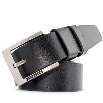 Stylish Letter Shape Carve Embellished Pin Buckle Solid Color Men's Wide Belt - BLACK BLACK