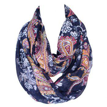 Chic Ethnic Paisley Pattern Women's Purplish Blue Voile Scarf