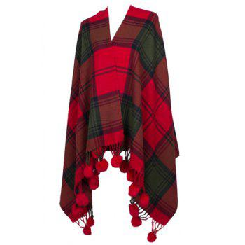 Chic Big Plaid Pattern Small Ball Pendant Women's Warmth Pashmina