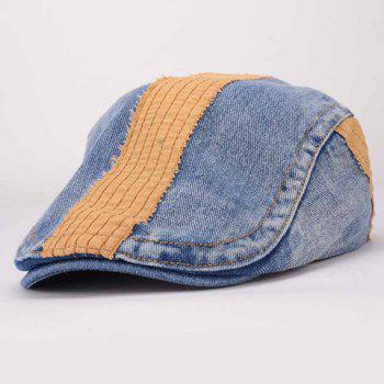 Chic Adjustable Color Block Denim Cabbie Hat For Women