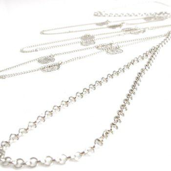 Chic Round Badge Multilayered Pendant Women's Body Chain - SILVER