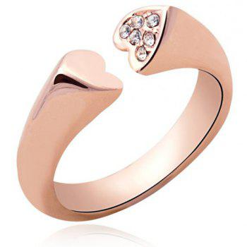 Rhinestone Heart Cuff Ring