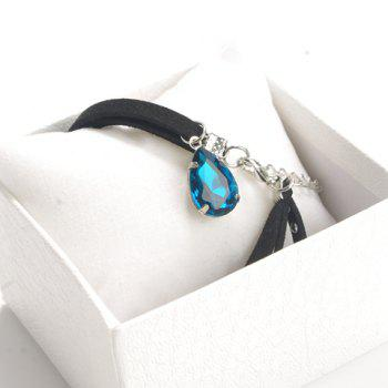 Rivet Water Drop Faux Gem Layered Choker - BLUE