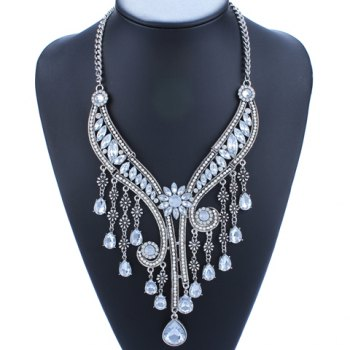 Flower Faux Crystal Water Drop Fringed Necklace