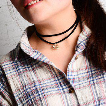 Hollow Cube Faux Zircon Embellished Double Layered Chokers