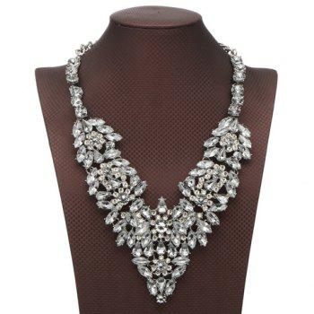 Rhinestone Faux Crystal Flower Petal Necklace