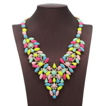Flower Rhinestones Water Drop Necklace - COLORMIX