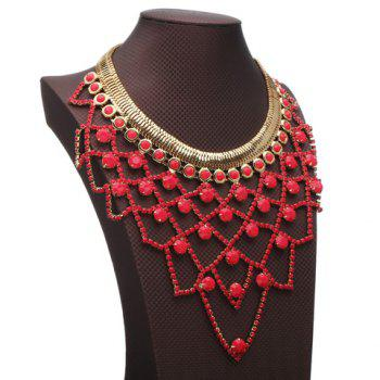 Irregular Grid Faux Gem Hollow Out Necklace - RED