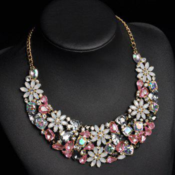 Gorgeous Faux Crystals Rhinestone Floral Geometric Necklace For Women - PINK