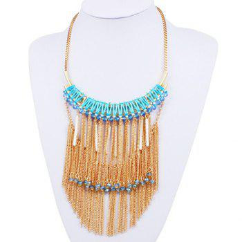 Bar Rhinestone Chains Fringed Necklace
