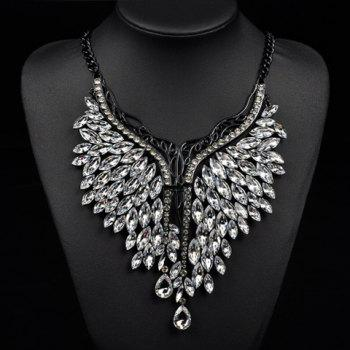 Artificial Crystals Oval Wings Necklace