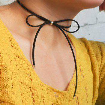 Hollow Out Bow Embellished Chokers - BLACK