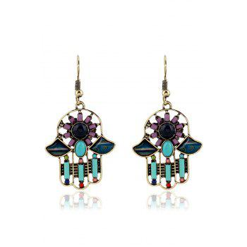 Pair of Resin Inlay Hollow Out Ethnic Style Earrings