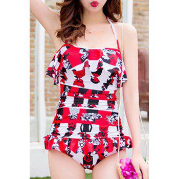 Halterneck Print Ruffled One Piece Swimsuit For Women