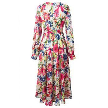 Trendy V-Neck Long Sleeve Print Flared Bohemian Maxi Dress For Women - M M