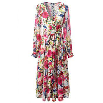 Trendy V-Neck Long Sleeve Print Flared Bohemian Maxi Dress For Women