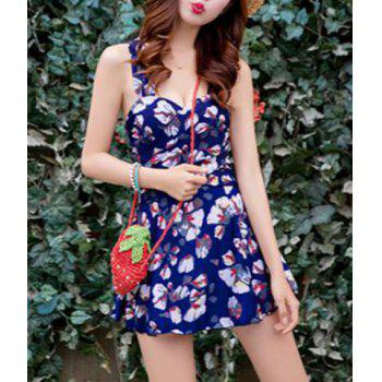Sweet Sleeveless Flounce Floral Print Bodycon Women's One-Piece Swimsuit