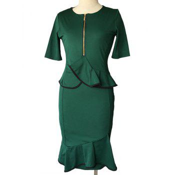 Vintage Women's Round Neck Short Sleeve Peplum Midi Dress