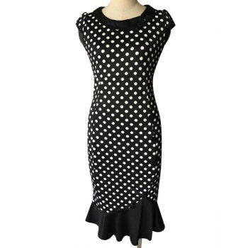 Vintage Women's Scoop Neck Cap Sleeve Polka Dot Fishtail Dress