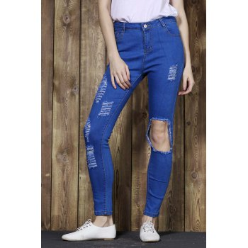Trendy Broken Hole High-Waisted Bodycon Women's Jeans