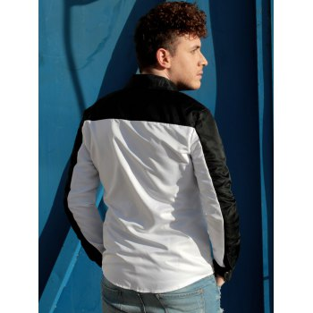 Trendy Three Color Splicing Shirt Collar Long Sleeve Fitted Men's Polyester Shirt - COLORMIX COLORMIX