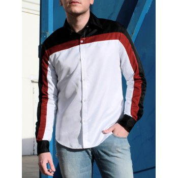 Trendy Three Color Splicing Shirt Collar Long Sleeve Fitted Men's Polyester Shirt - COLORMIX L