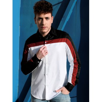 Trendy Three Color Splicing Shirt Collar Long Sleeve Fitted Men's Polyester Shirt - L L