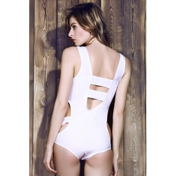 Trendy White Various Hollow Out Elastic One-Piece Swimwear For Women - WHITE 3XL